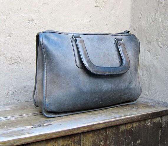 Vintage Rare COACH Distressed Black Blue Leather Satchel Tote