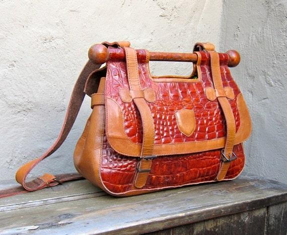 Vintage Medium Tan and Cognac Embossed Leather Satchel Bag