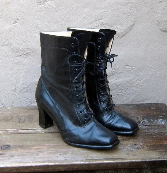 Vintage Black Leather High Heel Granny Boots Size 7