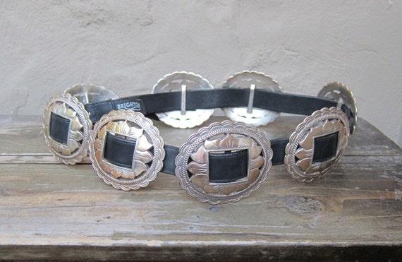 "Vintage Heavy Large Silver Metal Conch Brighton Belt 30""-34"""
