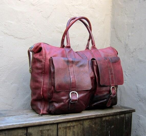 Vintage Ultra Distressed Large Wine Leather Travel Tote Bag