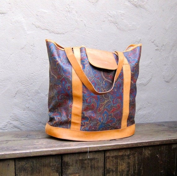 SALE Vintage Large Earth Tone Paisley Print Coated Canvas and Tan Leather Large Tote Bag