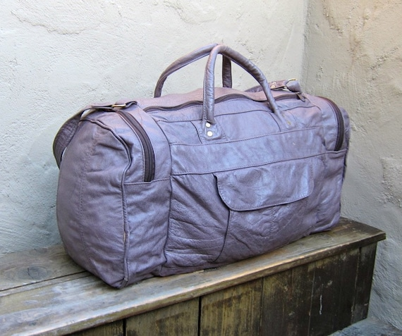 Vintage Purple Grey Leather Duffle Travel Bag