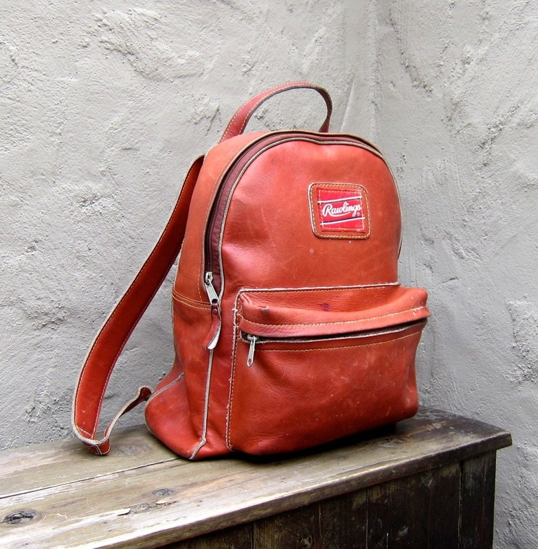 Vintage Baseball Glove Rugged Cognac Leather Backpack by