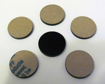 6 Black Plastic Plexi Glass Acrylic Drilled Circles Round Findings