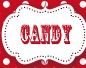 10 Printable Red and White Polka Dot Candy Buffet Labels