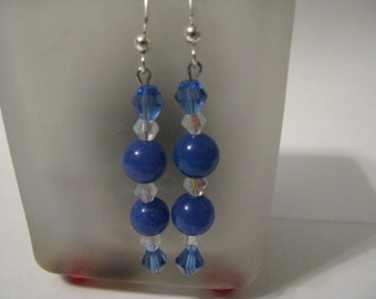 Earrings Dyed Blue Jade and Swarovski Crystals