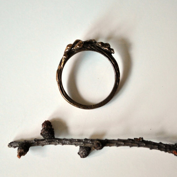 Vintage branches brass ring