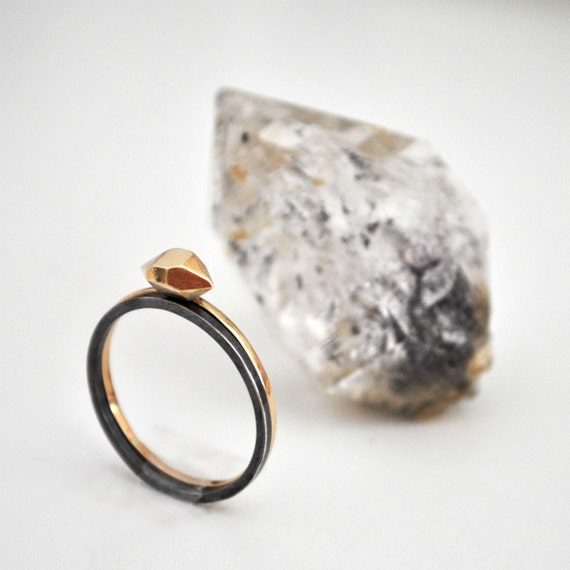 14k Gold and Silver Stacked Rings - Desert Rock stacking rings set