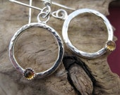 Hammered Circle Earrings, Citrine Gemstone, Sterling Silver, Handforged Earwires