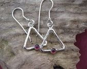Hammered Triangle Earrings, Garnet Gemstone, Sterling Silver, French Hooks