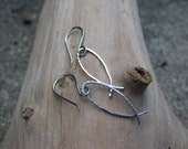 Ichthys Dangle Earrings-Sterling Silver, Handforged Earwires