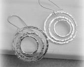 Triple Circle Dangle Earrings Hammered Sterling Silver
