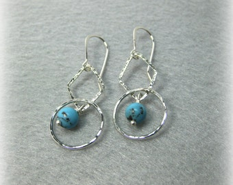 Hammered Dangle Turquoise Earrings Sterling Silver Hand  Forged Earwires- Made to Order