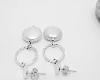 Sterling Silver Coin Pearl Dangling Post Earrings