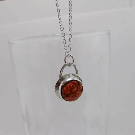 Sterling Silver Red Coral Flower Pendant 18 inch Sterling Silver Chain