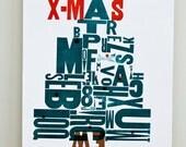 Merry Friggin Christmas Letterpress Poster
