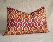 Flamestitch Chevron Designer Decorative Pillow - 12x18 inch - Red - Gold - Orange - BOTH SIDES - Lumbar Pillow - Designer Fabric - Throw
