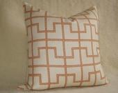 Schumacher Bleeker Pillow - Celerie Kemble - Spark - 20 inch - Designer Pillow - Decorative Pillow - Orange - Lattice