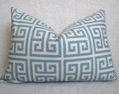 Designer Decorative Greek Key Pillow - Squares - Light Blue and Cream - 12x18 inch - BOTH SIDES - Decorative Pillow - Lumbar Pillow