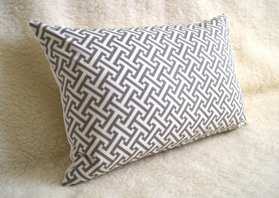 Key Decorative Pillow : Greek Key Designer Decorative Pillow Charcoal Gray Taupe
