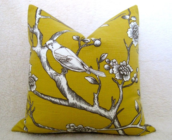 Pair of 2 Dwellstudio / Vintage Bird Pillows / Golden Mustard / 18 inch / Zipper Enclosure