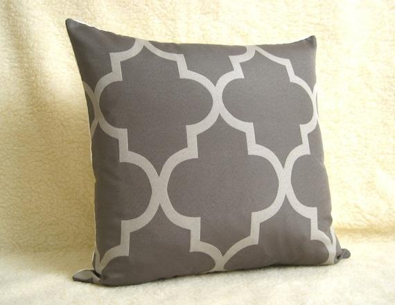 Lattice Work Designer Pillow / 18 inch / Steel Grey / Zipper Enclosure