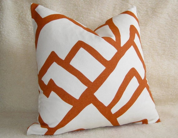 Zimba Decorative Pillow - F. Schumacher - 20 inch - Orange - Pattern on BOTH SIDES - Designer Pillows - Designer Fabric