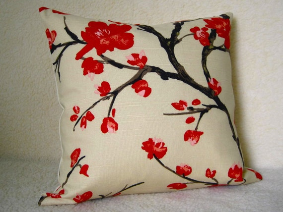 Designer Decorative Pillow Cherry Blossoms Red Chocolate