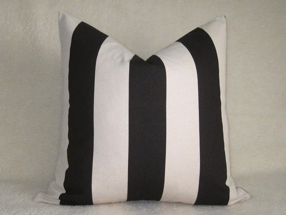 Wide Stripe Pillow / Java Brown / 20 inch / Pattern on Both Sides / Zipper Enclosure - Throw Pillow - Accent Pillow