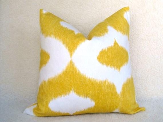 Ogee Ikat Decorative Designer Linen Pillow - Yellow and White - 20 inch - IKAT - Decorative Pillow - Ikat Pillow - Designer