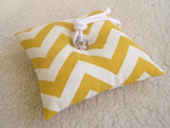 Chevron Ring Bearer Pillow - Yellow and White - As seen in the November issue of BRIDES magazine - Modern - Ring Bearer Pillow - Zig Zag