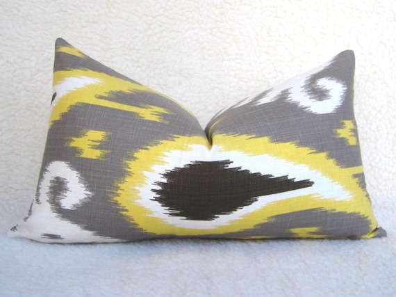 Dwell Studio - Decorative Designer Ikat Linen Pillow - Yellow - Taupe - Chocolate Brown - 10x18 - Throw Pillow - Accent Pillow - Lumbar