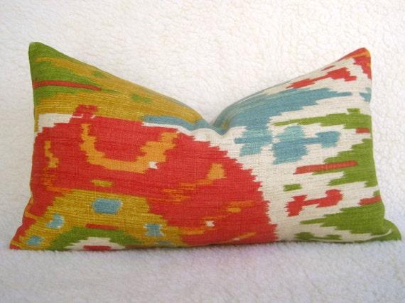 Ikat Suzani Medallion Linen Designer Decorative Pillow - Red Green Gold Blue - 10x18 inch - IKAT - Throw Pillow - Accent Pillow