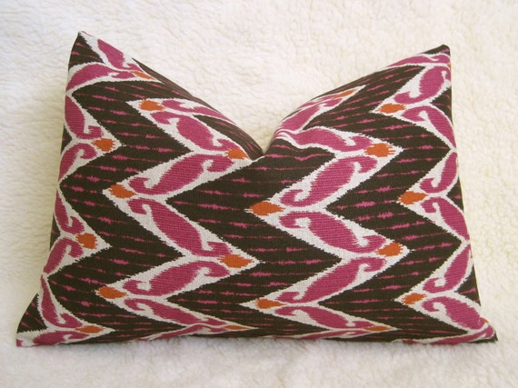 Zig Zag Ikat Decorative Designer Pillow - Brown - Magenta - Fushcia - Orange - 12x18 inch - Chevron Pillow - IKAT - Accent Pillow - Linen