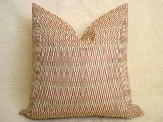 12x20 inch - Jacquard Chevron Designer Pillow - Sage - Gold - Red Orange - Ivory - Zig Zag Pillow - Throw Pillow - Decorative Pillow