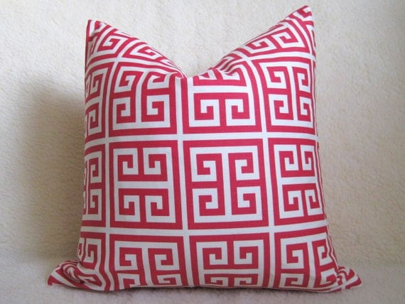 Designer Decorative Greek Key Pillow  Cover - Hot Pink and White - 18 inch - BOTH SIDES - Decorative Pillow - Throw Pillow - Fuchsia - Magen