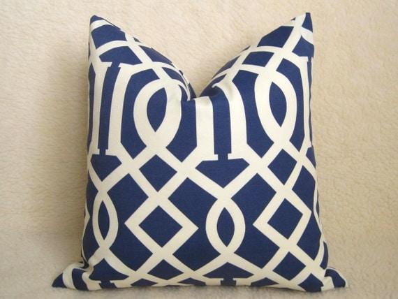 Imperial Trellis Designer Pillow - 16 inch - Navy Blue and Ivory - Indoor Outdoor Pillow - Trellis Pillow - Lattice Pillow - Throw Pillow