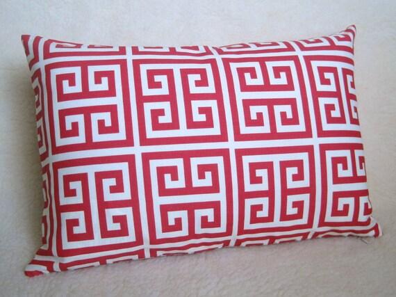 Designer Decorative Greek Key Pillow - Hot Pink and White - 12x18 inch - BOTH SIDES - Decorative Pillow - Throw Pillow - Fuchsia - Magenta