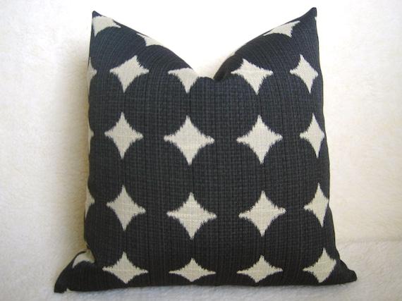 Dwell Studio - Ikat Dots - Decorative Pillow - Black - Linen - 18 inch - IKAT - Throw Pillow - Designer Pillow - Polka Dots