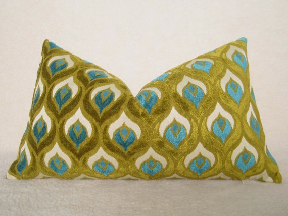 Peacock - Decorative Designer Pillow - 13x22 inch - Peacock Blue - Chartreuse - Turquoise - Teal - Olive - Lumbar Pillow - Throw Pillow