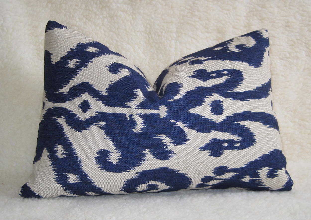 Ikat Throw Pillows Etsy : Reserved for jamandpickles / 2 Ikat Lumbar Pillow by WillaSkyeHome