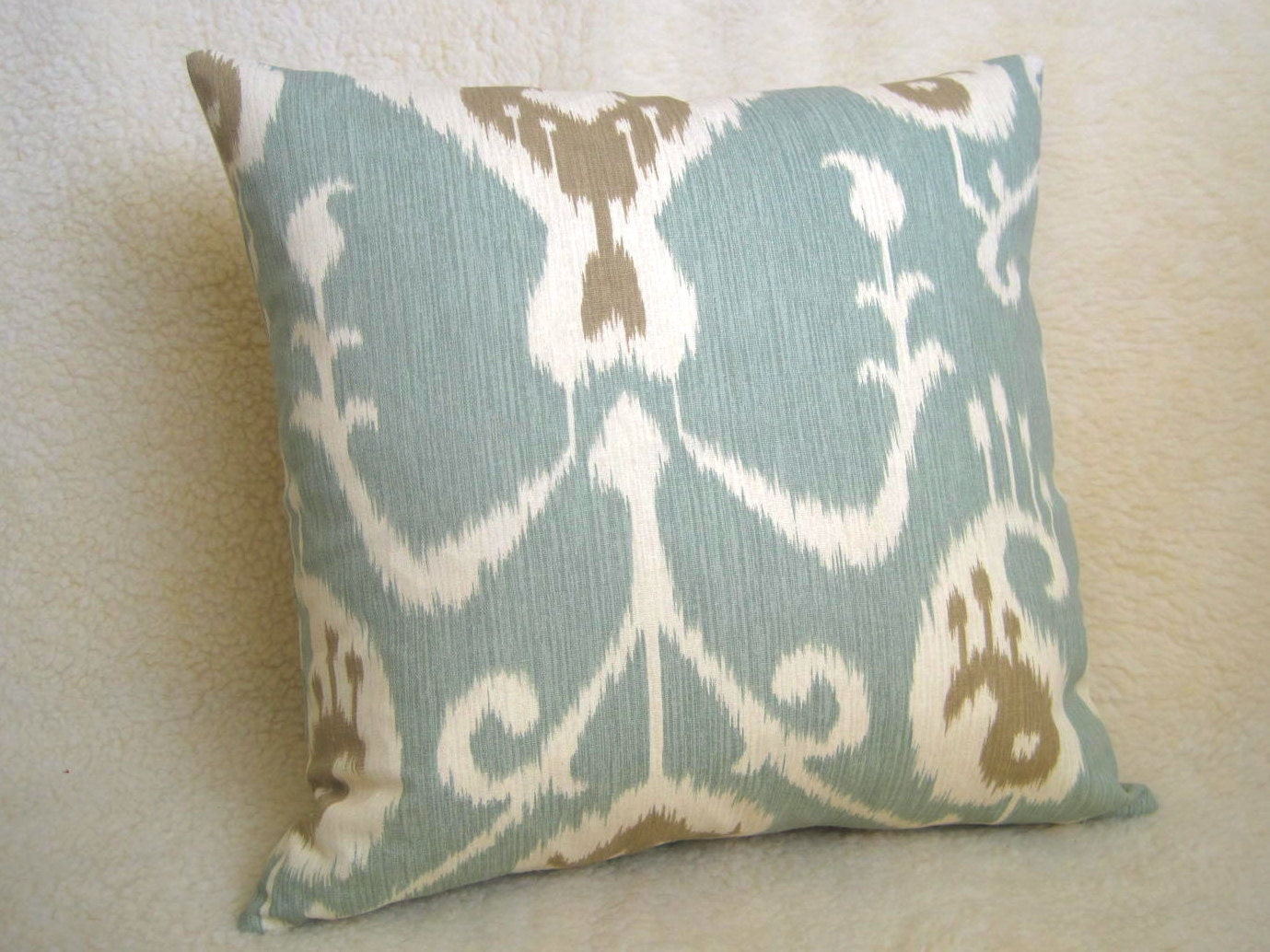 Light Blue Patterned Throw Pillow : Items similar to Ikat Decorative Pillow - Light Blue - Tan - Cream - 18 inch - BOTH SIDES ...