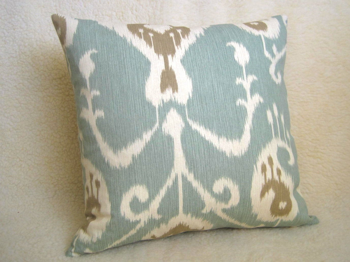 Ikat Decorative Pillow Light Blue Tan Cream by WillaSkyeHome