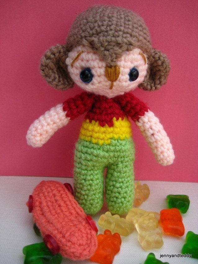 Amigurumi Monkey Etsy : pdf amigurumi crochet pattern Monkey boy by jennyandteddy