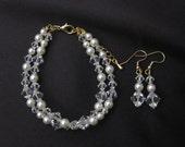 Swarovski cream pearl bracelet and drop earrings set (silver/gold)