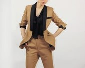 Camel jacket with black collar