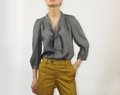 Solid grey silk blouse - Style 22