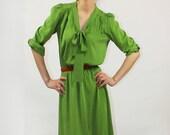 Bottle green silk dress - Style 10