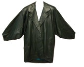 SALE Vintage 80s Slouchy Green Leather Jacket